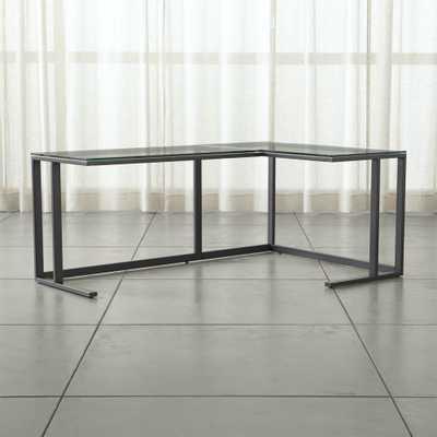 Pilsen Graphite Corner Desk - GLASS TOP - Crate and Barrel