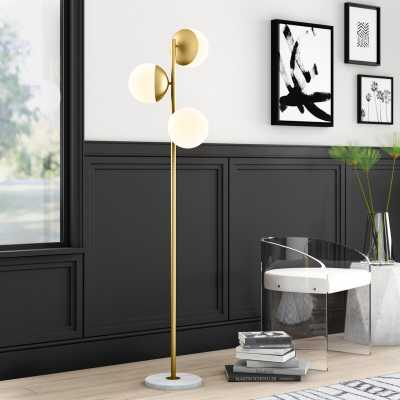 """Yearby 63"""" Tree Floor Lamp - Brass, Frosted White - Wayfair"""