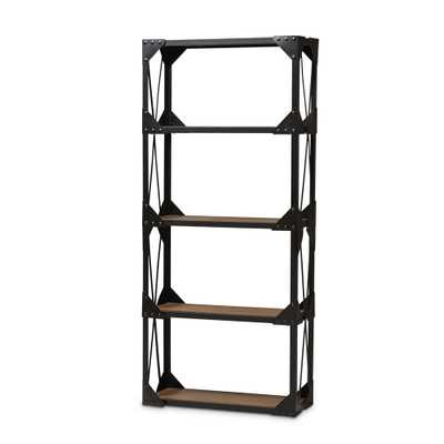 Baxton Studio Hudson Rustic Industrial Style Antique Black Textured Finished Metal Distressed Wood Tall Shelving Unit - Lark Interiors