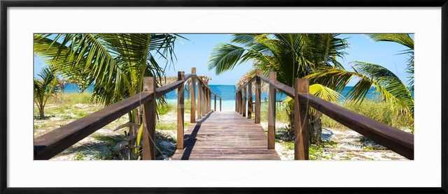 Cuba Fuerte Collection Panoramic - Wooden Jetty on the Beach - art.com