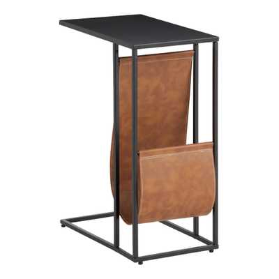Black Metal And Faux Leather Hayden Laptop Table - World Market/Cost Plus