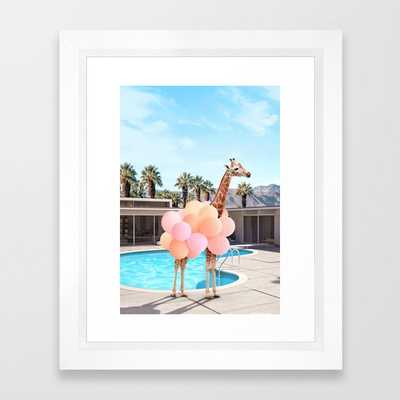 "Giraffe Palm Springs Framed Art Print - 10"" x 12"" - Society6"