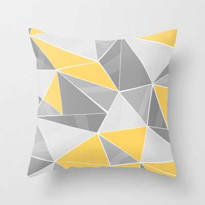 """Pattern, Grey - Yellow Throw Pillow - Indoor Cover (16"""" x 16"""") with pillow insert by Lindella - Society6"""