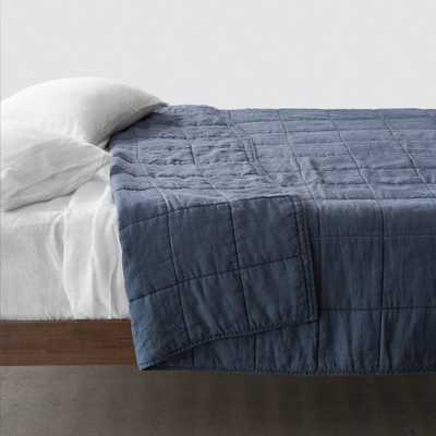 STONEWASHED LINEN QUILT - Slate Blue - King - The Citizenry