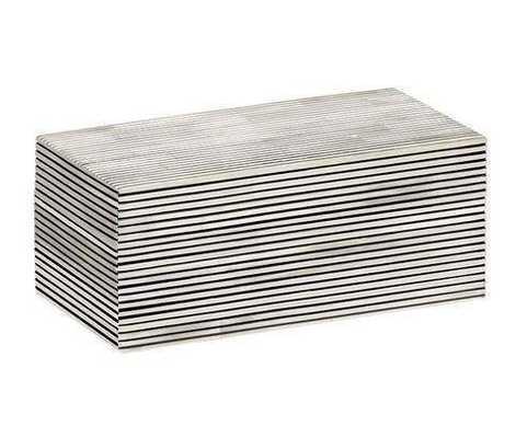 Pinstripe Decorative Box Large in Black & White - Koa Artisans