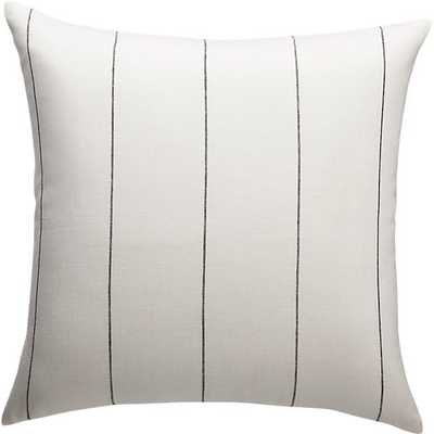 "20"" PINSTRIPE WHITE LINEN PILLOW WITH DOWN-ALTERNATIVE INSERT - CB2"