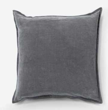 "Maxen Velvet Pillow, Ash Gray 20"" x 20"" - Lulu and Georgia"