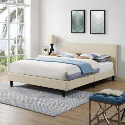 Anya Queen Bed in Beige - Home Depot