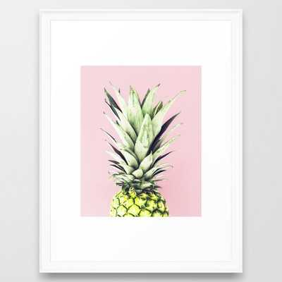 "Pineapple, Pink, Pastel, Art, Scandinavian, Wall art Print Framed Art Print, 20x26"", Scoop White Frame - Society6"