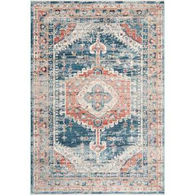 Mauna Loa Oriental Blue/Red Area Rug - Wayfair
