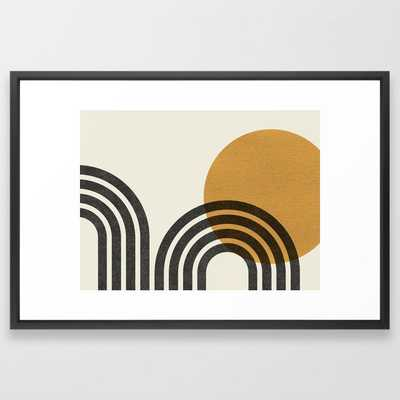 Mid century modern - Sun & Hills Framed Art Print - Society6