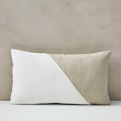 "Cotton Linen & Velvet Corners Pillow Cover, 12""x21"", Stone White Set 2 - West Elm"