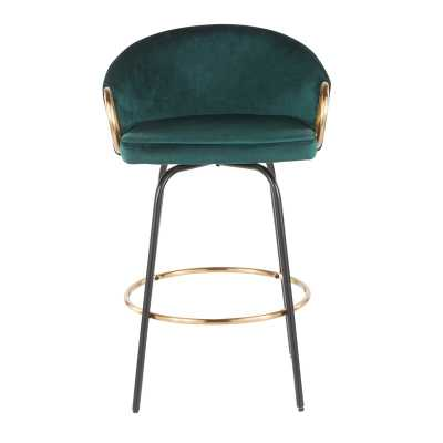 Claire Contemporary/Glam Counter Stool In Black Metal And Green Velvet With Gold Metal Accent By Everly Quinn - Set Of 2 - Wayfair