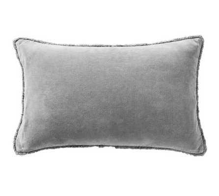 """Fringe Velvet Lumbar Pillow Cover, 16 x 26"""", Gray - Pottery Barn"""