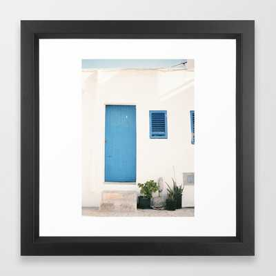 """Travel photography print """"Ibiza blue and white"""" photo art made in the old town of Eivissa / Ibiza Framed Art Print - Society6"""