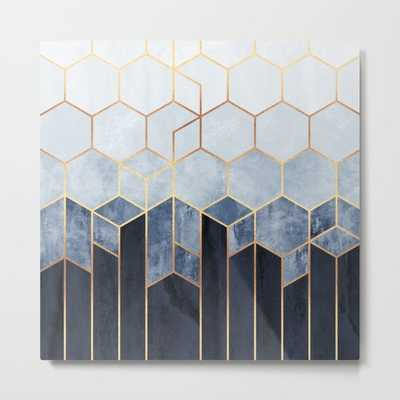 "Soft Blue Hexagons Metal Print - 24""x24"" - Society6"