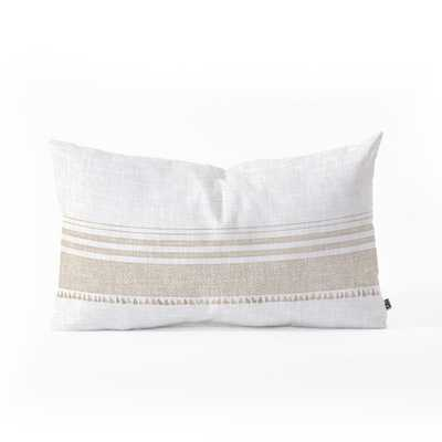 FRENCH LINEN TASSEL Oblong Throw Pillow - Wander Print Co.
