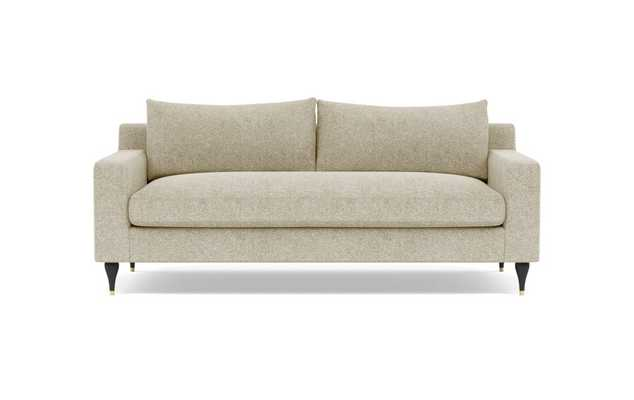 Sloan Sofa with Beige Opal Fabric, standard downblend cushions, and Matte Black with Brass Cap legs - Interior Define