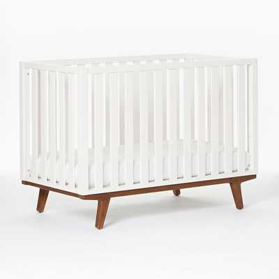 Modern Convertible Crib, White/Pecan, UPS - West Elm