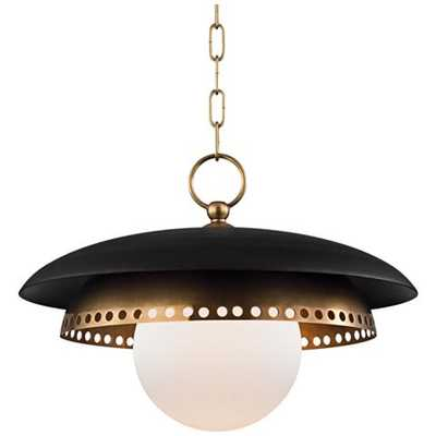 """Herikimer 17 1/2"""" Wide Aged Brass and Black Pendant Light - Lamps Plus"""
