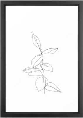 "One line minimal plant leaves drawing - Berry Framed Art Print, Vector Black Frame 15""x21"" - Society6"