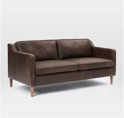 "Hamilton 70"" Charme Leather Sofa, Mocha - West Elm"