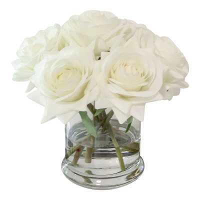 Real Touch Roses Floral Arrangements in Glass Vase - Wayfair
