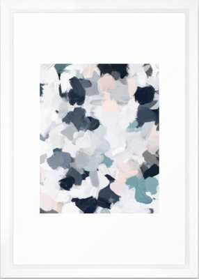 Navy Indigo Blue Blush Pink Gray Mint Abstract Air Clouds Art Sky Painting Framed Art Print - Society6