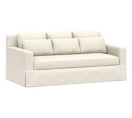 "York Deep Square Arm Slipcovered Sofa 79"" with Bench Cushion, Down Blend Wrapped Cushions, Sunbrella(R) Performance Boss Herringbone Ecru - Pottery Barn"