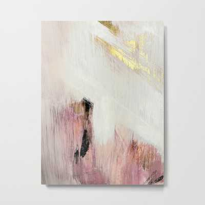 Sunrise [2]: a bright, colorful abstract piece in pink, gold, black,and white Metal Print - Society6
