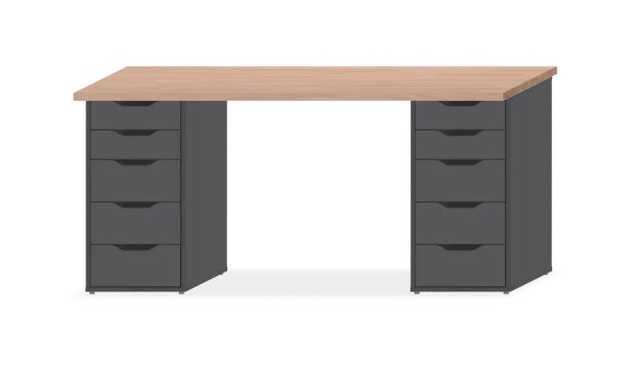 Gerton/Alex,Beech Wood Top, Black Brown Drawers - Ikea