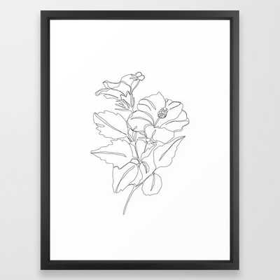 Floral one line drawing - Hibiscus Framed Art Print by Thecolourstudy - Vector Black - 20x26 - Society6