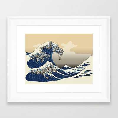 The Great Wave of Pugs Vanilla Sky Framed Art Print - Society6