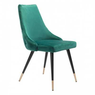 Piccolo Dining Chair Green Velvet, Set of 2 - Zuri Studios
