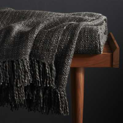 Styles Ebony Fringe Throw Blanket - Crate and Barrel