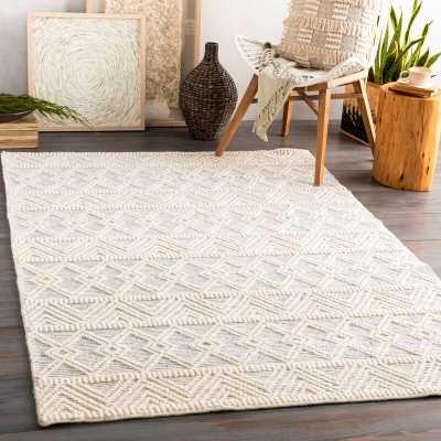 Clancy Handwoven Wool Cream/Gray Rug, Rectangle 8' x 10' - Wayfair