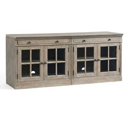 """Livingston 70"""" Media Console With Glass Cabinets, Gray Wash - Pottery Barn"""