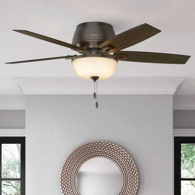 "52"" Donegan 5 - Blade Flush Mount Ceiling Fan with Pull Chain and Light Kit Included - Birch Lane"