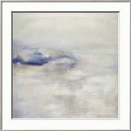 "Tranquil w/ Blue - 28"" x 28"" Giclee Print - Ronda Silver 0.38"" Frame - Crisp - Bright White 3"" Mat - Acrylic: Clear - art.com"