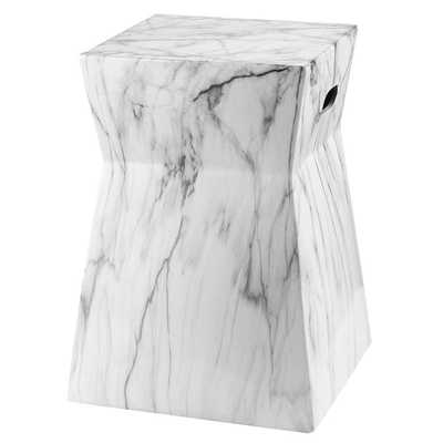 Artesia Marble Garden Stool - White/Black Marble - Arlo Home - Arlo Home