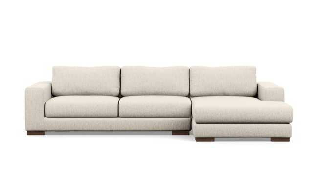 Henry Sectional Sofa with Right Chaise in Wheat Fabric with Oiled Walnut legs - Interior Define
