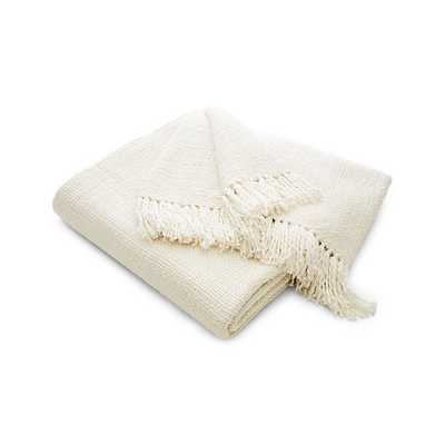 Styles Ecru Fringe Throw Blanket - Crate and Barrel