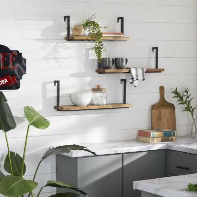 Small Rectangular Industrial Wood And Metal Shelves For Walls, Set Of 3: 22''X8'', 24''X9'', 26''X9'' - Wayfair