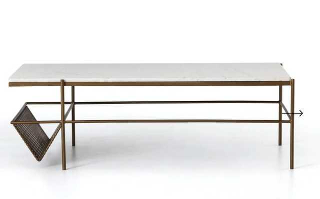 Felicity Coffee Table in Matte Brass - Burke Decor