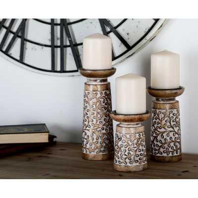 3 Piece Metal and Wood Candlestick Set - Wayfair