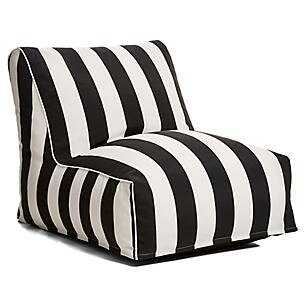 Outdoor Bean Bag Lounger - Black and White - Wayfair