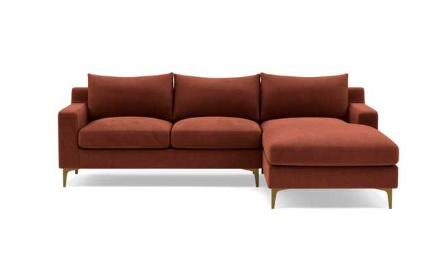 Sloan Left Sectional with Grey Narwhal Fabric, down alternative cushions, extended chaise, and brass legs - Interior Define