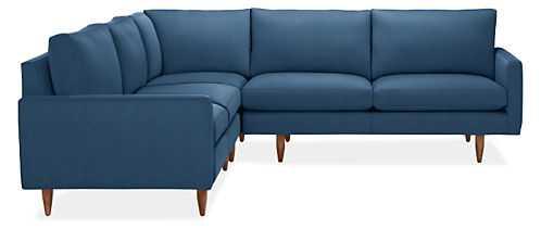 "Jasper Custom Sectional - 103"" x 103"" - Katz blue - Mocha Leg - Room & Board"