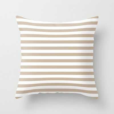 White -beige stripe Throw Pillow - Outdoor - 20x20 - Society6