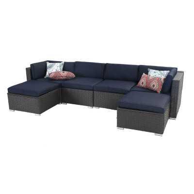 Outdoor Sectional Sofa- Patio Wicker Furniture Set (6-piece) - Wayfair